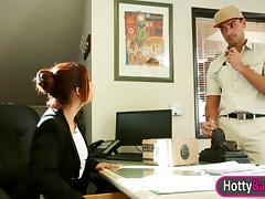 Lusty office girl Isabella De Santos enjoyed glamcore scene