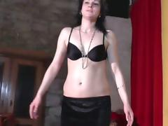Inexperienced brunette dances provocatively