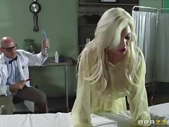 A doctor has a threesome with a nurse and a sexy patient