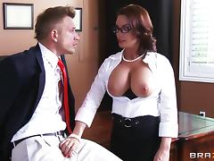 Alluring milf with fake tits swallowing cum after getting her anal jammed hardcore