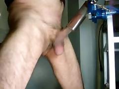 old man masturbates with vacuum cleaner