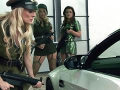 Hot female cops pull a guy over and work his meaty nightstick