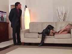 Blindfolded slut in thigh high leather boots is a perfect fuck