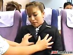 Naughty Stewardess Pleasing Cock On A Plane