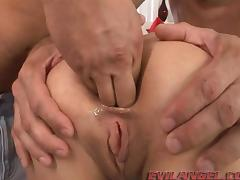 Kinky brunette with petite tits getting her tight asshole fisted
