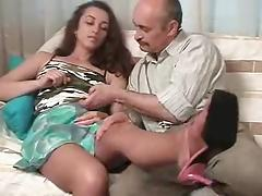 Putting a smile on a very old man's face by letting him fuck her