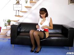 Blouse and skirt business lady is a hot slut for hard dick
