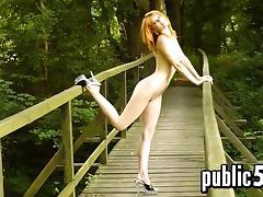 Public, Babe, Nude, Outdoor, Public, Redhead