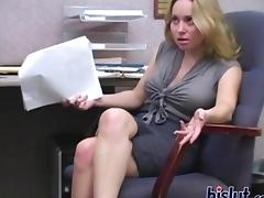 Busty blonde secretary dominates her pushy boss