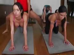 Four hot gym girls fucked hard