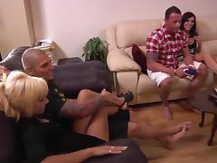 A few kinky bitches get fucked hard in reality group sex scene