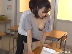 Japanese brunette teacher gets banged warmly in class by her student