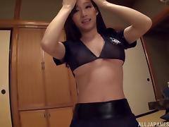 Sexy stocking-clad Asian slut with a hot body enjoying a hardcore vibrator fuck