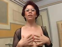 Bodystocking, Bodystocking, Brunette, Mature, MILF, Penis