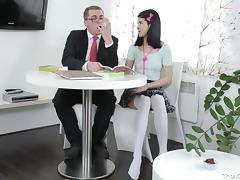 Tricky Old Teacher -Jody played with her pussy
