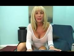 Mature blonde sucks a cock and gets facialized