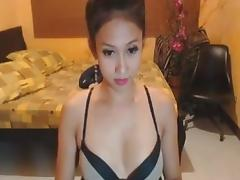Gorgeous Asian Shemale Strokes her Huge Cock