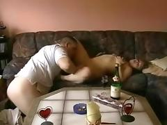 Horny couple on a sofa at home part.1