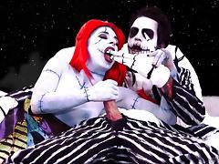 Couple in Nightmare Before Christmas cosplay fucks