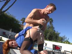 Salacious redhead with fabulous juggs getting her asshole licked