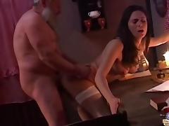 Very old man reveives pussy to fuck on Xmas
