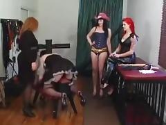 2 Mistresses Strapon Sissy
