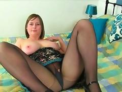 English milfs Janey and April massage their big tits