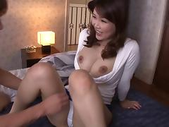Asian beauty has her nipples sucked and her hairy pie fucked