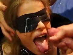 Beauty, Beauty, Blindfolded, Blonde, Bukkake, Cum in Mouth