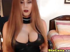 Huge Tits Shemale Masturbates and Fucks Her Ass