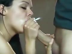 Sexy brunette give amazing smoking blowjob