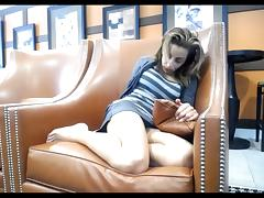 Sexy girl with Ohmibod in public cafe (no nudity)