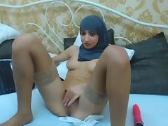 Girl in Hijab pleases herself on cam