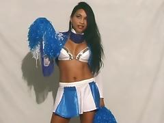 Cheerleader shows off her titties and fucks a favorite dildo