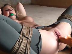 Gag-Man 014 Ballgagged+Bound Pussy-Dildoed