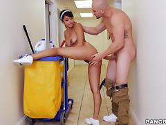 sexy maid jacks off her chief's cock
