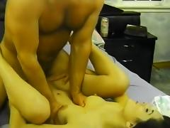 Brunette Amateur Reamed by Giant Dick