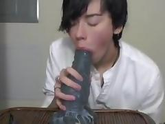 Cute Asian Twink Blows Big Alien Dildo