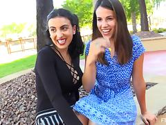 Chloe seduced by a cute brunette during a walk