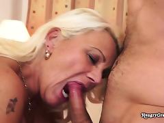 Mom and Boy, Blonde, Blowjob, Granny, Hairy, Hardcore