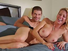 Guys spooning with seductive nude babes and one of them is Alexis Fawx