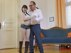 Pale babe Luna Rival gets frisky with a mature hunk's dick