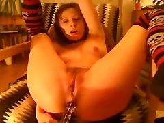 Hot webcam babe plug dildo in ass and fingering pussy