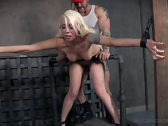 submissive blonde bombshell is tied and fucked from behind
