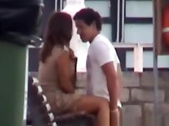 Horny teen couple fucking in public