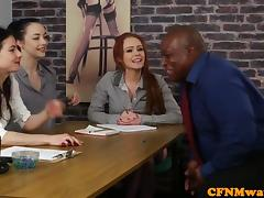 CFNM, CFNM, Femdom, Group, Interracial, Mistress