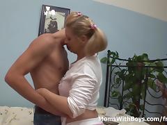Mom and Boy, Blonde, Blowjob, Couple, Cumshot, Cute