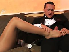 Aletta Ocean is a classy chick who loves to feel cum on her feet