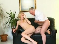 Avid old lad copulates mouth and juicy pussy of a young girl