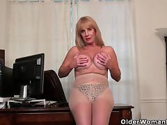 American, American, Blonde, Granny, HD, Masturbation